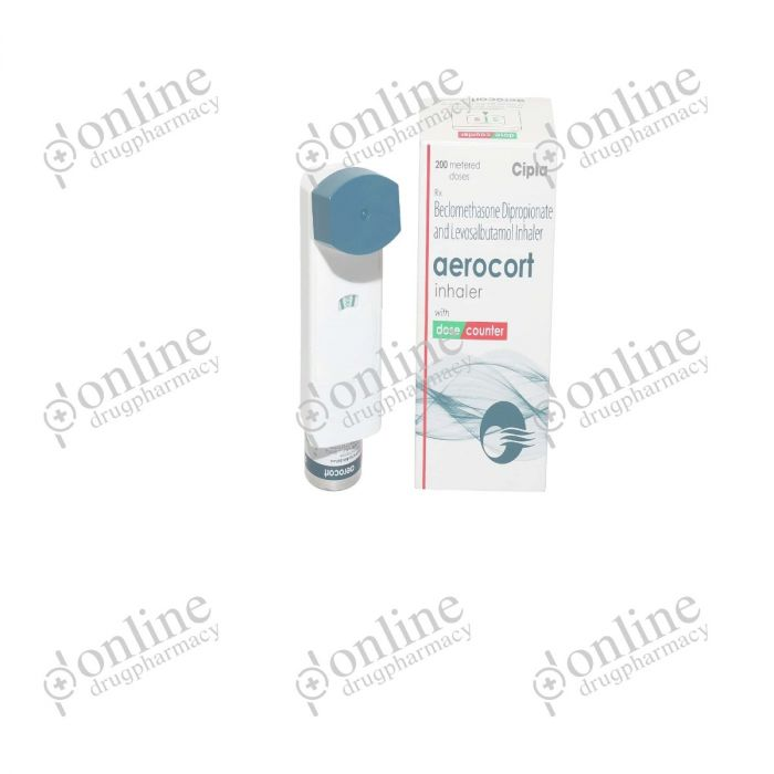 Aerocort Inhaler 50 mcg + 50 mcg (200mcg)-Front-view